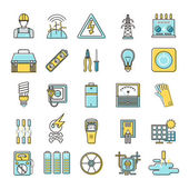 Electricity related flat line icons set over white background