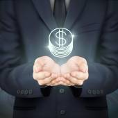 businessman holding coin icon