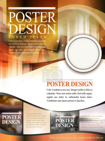 Illustration for Modern poster template design with glitter translucent blurred background - Royalty Free Image