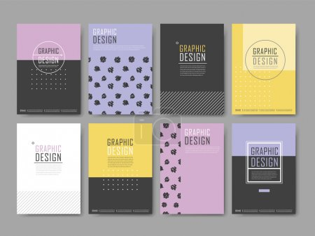 Illustration for Elegant poster template design set with geometric elements - Royalty Free Image