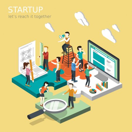 Illustration for Flat 3d isometric design of business startup concept - Royalty Free Image