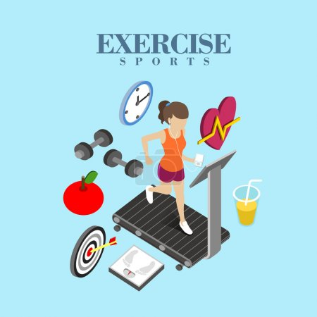 Illustration for Flat 3d isometric design of exercise concept - Royalty Free Image