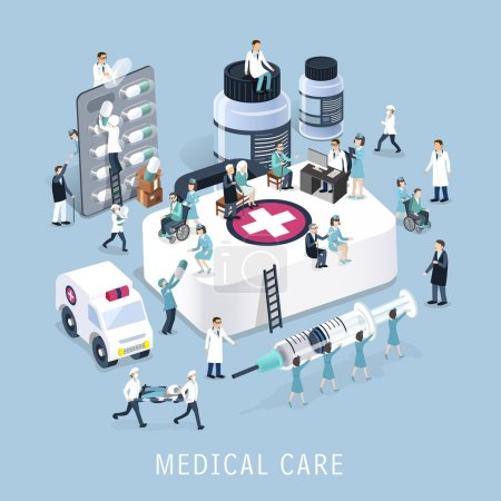 Illustration for Flat 3d isometric design of medical care concept - Royalty Free Image