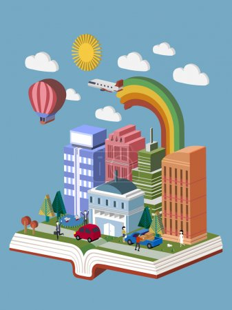 Illustration for Flat 3d isometric design of knowledge city concept - Royalty Free Image
