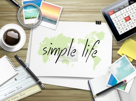 Illustration for Top view of travel items on wooden table with simple life written on paper - Royalty Free Image