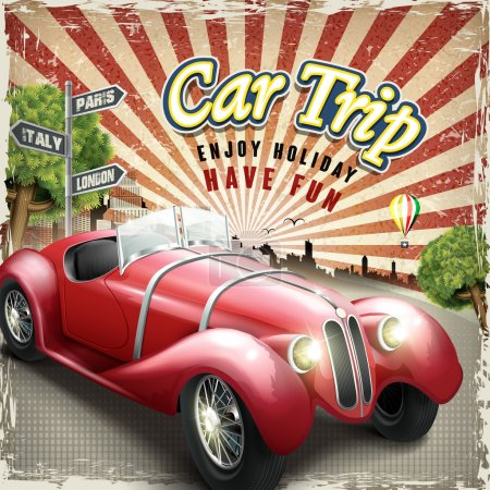 attractive retro car trip design poster