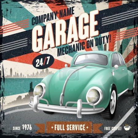 Illustration pour Attrayant rétro affiche de conception de voiture avec fond vintage - image libre de droit