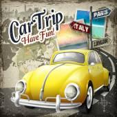 attractive car trip poster design