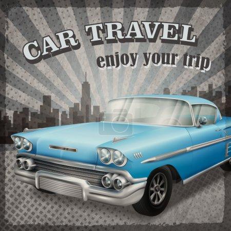 Illustration pour Vétéran voiture bleue classique avec arrière-plan concept de voyage voiture rétro - image libre de droit
