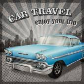 veteran classic blue car with retro background