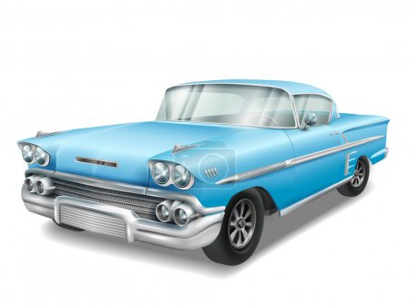 Illustration for Veteran classic blue car isolated on white background - Royalty Free Image