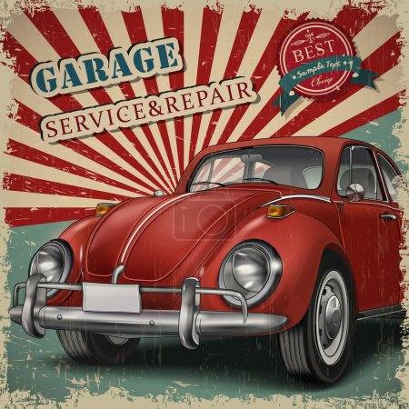 Veteran classic small red car with retro car service background