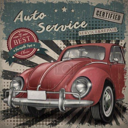 Illustration pour Vétéran classique petite voiture rouge avec arrière-plan de service de voiture rétro - image libre de droit