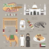 Travel concept of Dubai in lovely flat style