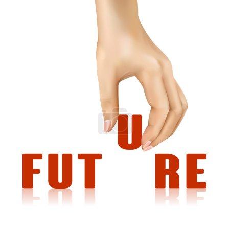 Illustration pour Mot futur enlevé à la main sur fond blanc - image libre de droit