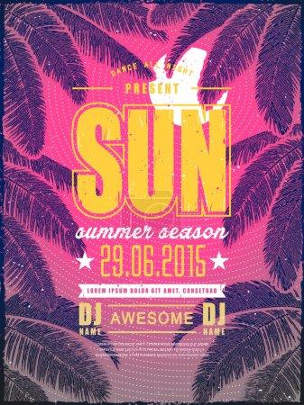 attractive summer beach party poster design