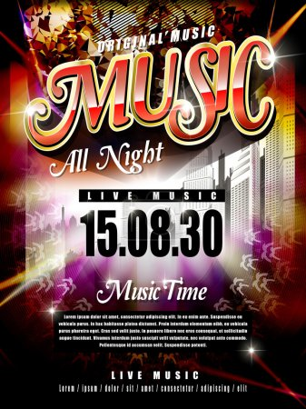 Illustration for Modern music festival poster design template with abstract background - Royalty Free Image