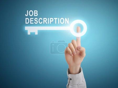 male hand pressing job description key button