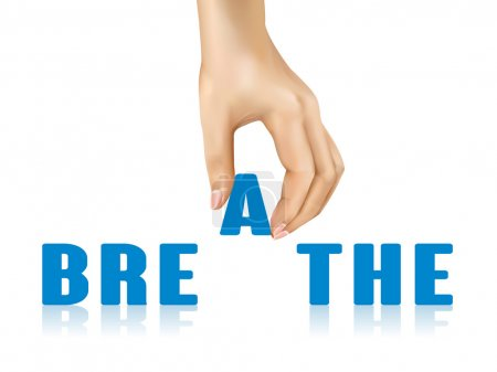 Illustration for Breathe word taken away by hand over white background - Royalty Free Image
