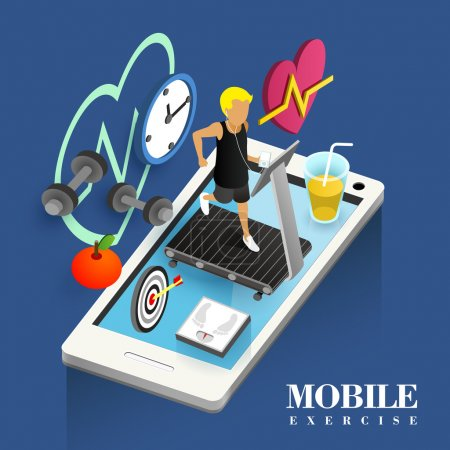 Illustration for Mobile exercise concept in flat 3d isometric graphic - Royalty Free Image
