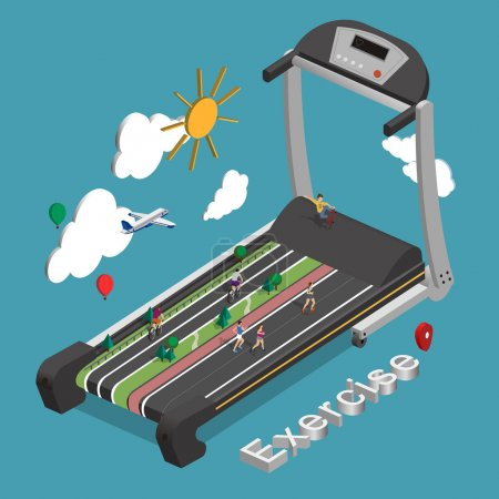 Illustration for Exercise concept in flat 3d isometric graphic - Royalty Free Image