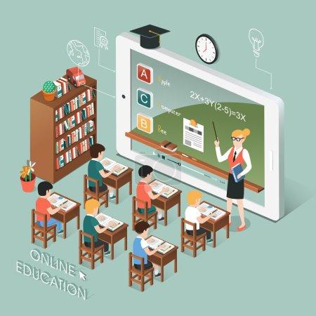 Illustration pour Conception isométrique 3D plat de l'éducation en ligne avec tablette - image libre de droit