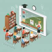 online education with tablet