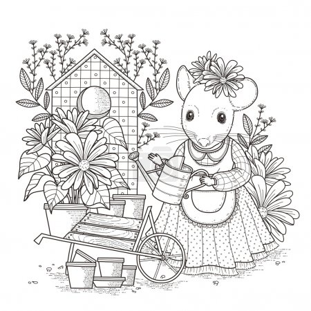 adorable mouse coloring page