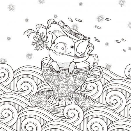 adorable piggy coloring page