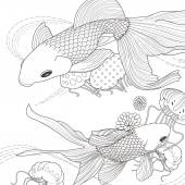 adorable golden fish coloring page