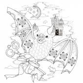 Lovely bat coloring page in exquisite style