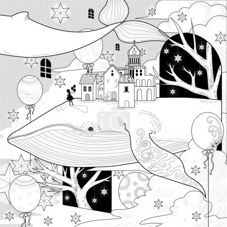Fantastic whale coloring page