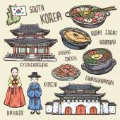 Colorful travel concept of south Korea in exquisite hand drawn style