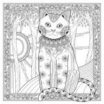 Elegant magic cat coloring page in exquisite style...