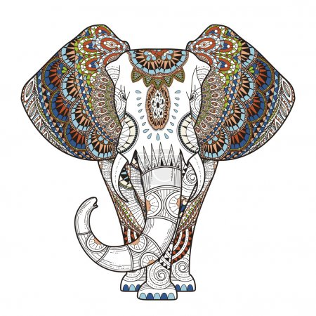 Graceful elephant coloring page in exquisite style...