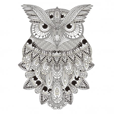 Sumptuous owl coloring page in exquisite style...