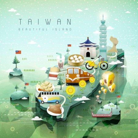 Illustration pour Fantastique Taiwan attractions et plats carte de voyage dans le style isométrique 3d - image libre de droit