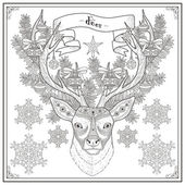 Graceful deer coloring page in Christmas style