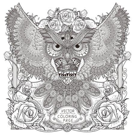 Illustration pour Magnifique chouette coloriage conception de la page dans un style exquis - image libre de droit