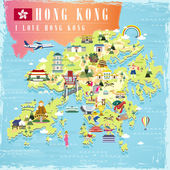 I love Hong Kong concept travel map with attractions icons in flat design