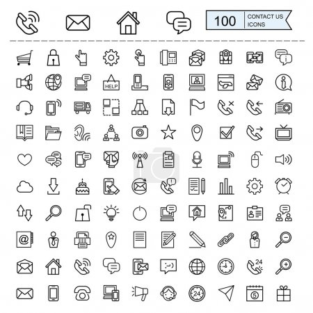 Illustration for Contact us icons collections set in thin line style - Royalty Free Image