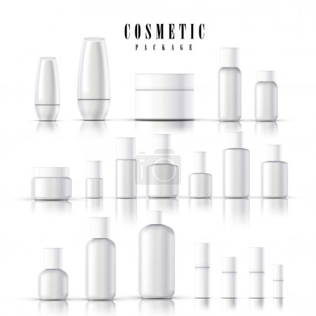 Illustration pour Ensemble de collection d'emballages cosmétiques vierges isolé sur fond blanc - image libre de droit