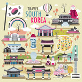 Lovely South Korea travel concept collections in flat design