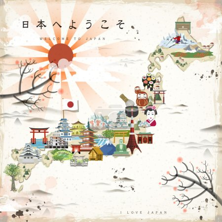 beautiful Japan travel map