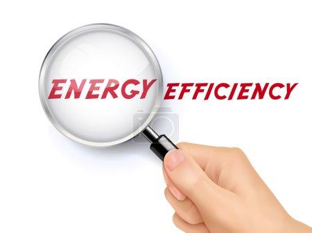 Illustration pour Mots d'efficacité énergétique montrant à travers loupe tenue à la main - image libre de droit