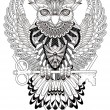 Mysterious owl coloring page in exquisite line...