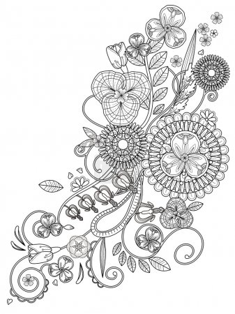 romantic floral coloring page