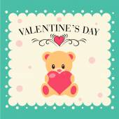 Valentine day card  with Teddy bear