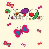 Valentine message with colorful butterflies