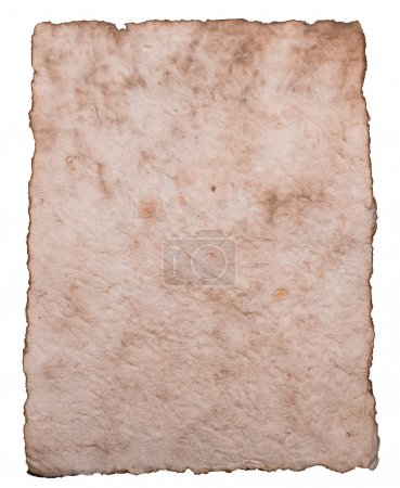 Old ancient sheet paper isolated on white background